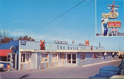 (#380) View of The Dutch Mill Restaurant Bluffton Indiana 1950-60s Postcard
