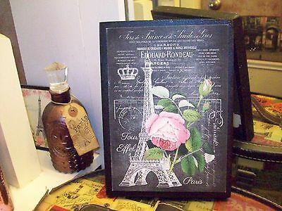 Paris wall decor Eiffel Tower pink rose sign chalkboard look Shabby French chic