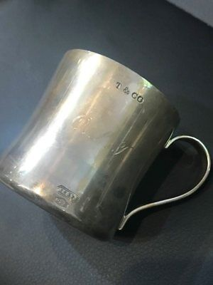 Tiffany & Co. T & Co. Baby Cup Sterling Silver 925 115 Grams Engraved Authentic