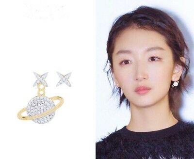 2b940691e Planet Saturn Star Crystal Silver post Stud Earrings Space Drop Gold Gift  PE25