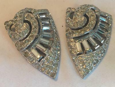 Pair of Antique Shield Shaped Art Deco Rhinestone Sweater Dress Clips