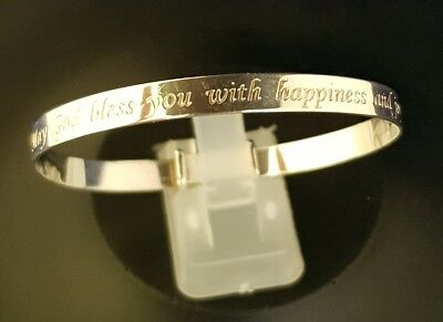 925 Sterling Silver Baby Bangle with May God Bless You With Happiness and Joy