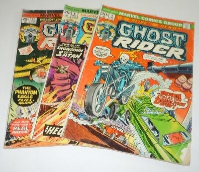 Ghost Rider 4 9 12 Comic LOT Marvel 1st Print First Appearance Roulette 1973