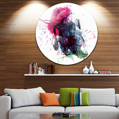 Designart 'Multicolor Abstract Stain' Modern Abstract Round Metal Wall Art