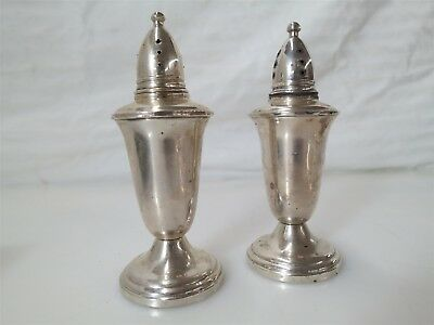 Vintage Pair of Crown Sterling Silver Weighted Salt and Pepper Shakers 197.3g