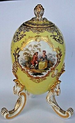 "Antique Meissen Romantic Egg Caddy Jar Lid Playing Lute Florals Bug 6.5"" / 16cm"
