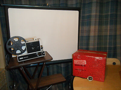 Vintage Eumig projector Mark 605D with box, stand and screen