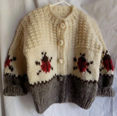 VINTAGE COWICHAN LADY BUG  wool hand knit CARDIGAN SWEATER girls