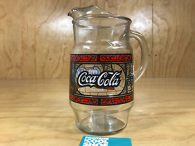 Vintage Coca Cola Logo Large Clear Glass Pitcher Black White Red 9 3/4In