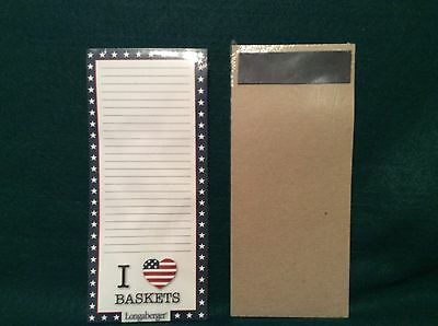 Longaberger To Do List Magnetic Note Pad I LOVE BASKETS Red White Blue