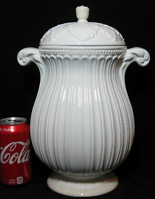 "Large Antique White Ironstone 13"" Tall Covered Jar Or Urn"