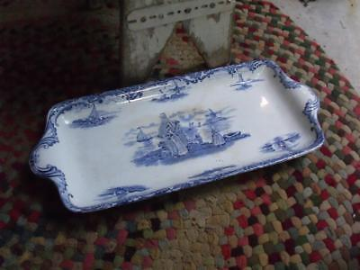 Primitive Antique Wedgewood Hague Pattern Blue and White Tray