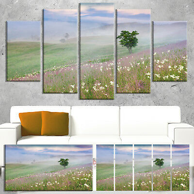 Designart 'Foggy Summer Morning in Mountains' Large Green