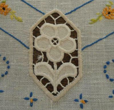 """Vintage Linen Table Runner Pink Embroidered French Knots Schiffli Lace 41"""""""