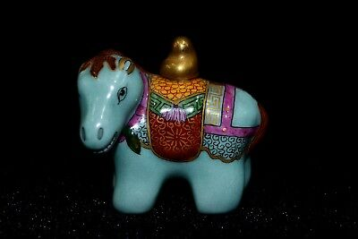 Chinese Rare Collectible Old Porcelain handwork swift horse Shape Snuff Bottle