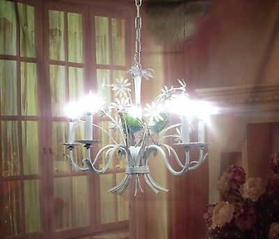 Antique Vintage Chandelier Tole Flowers Shabby White Pink Butterflies  Italian