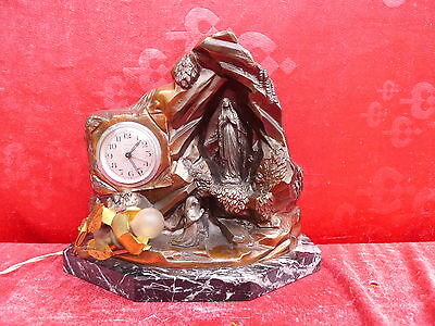 Beautiful, Very Old Figurine Clock __with Lamp and Music Box __ Madonna Lourdes_