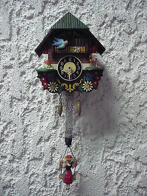 Beautiful, Old, Small Wall Clock __ Black Forest__Wippene Trachtendame__ J.