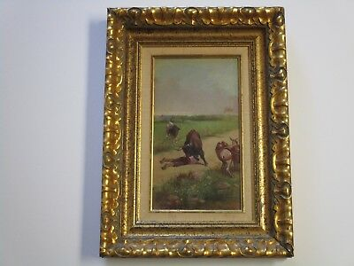 Antique Spanish Painting Signed Marian Rare Bull Attack Fatality 19Th Century