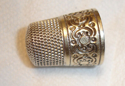 Sterling Silver Antique Simons Thimble Size 10, S in Shield-Excellent!