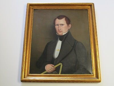 Antique Early American 19Th Century Portrait Painting Estate Gentleman Male Man
