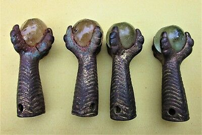 4-Metal Claw Feet With Marbles From Vintage Piano Stool