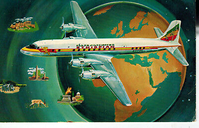 Ethiopian Airlines Ethiopa Africa Nice Color Postcard Late 1940s Aviation
