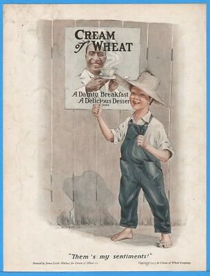1913 Cream of Wheat James Leslie Wallace Art Thems My Sentiments Rastus Print Ad