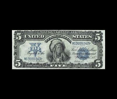 """1899 $5 Silver Certificate """"the Chief"""" Extra Fine Condition"""