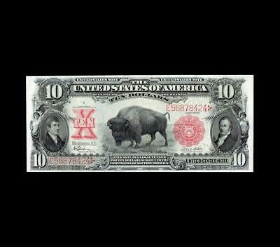 "Incredible 1901 $10 Legal Tender ""bison"" Superior Almost Uncirculated"