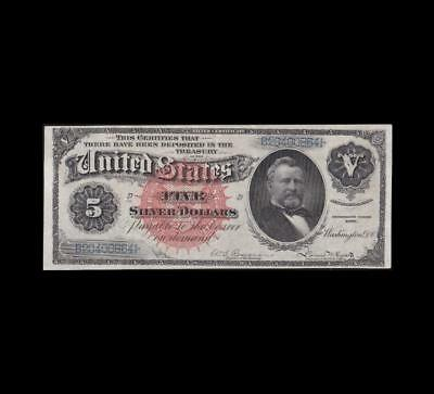1886 $5 Silver Dollar Back Silver Certificate Strong Extra Fine