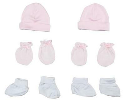 Girls Cap, Booties and Mittens 6 Piece Layette Set