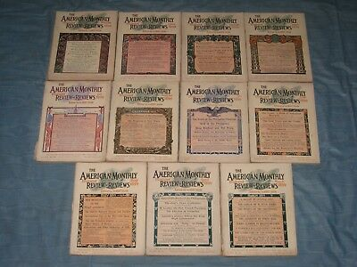 1899-1900 Lot Of 11 Issues Of The American Monthly Review Of Reviews Magazine