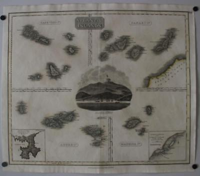 Canary Islands Azores Madeira Cape Verde Atlantic Isles 1814 Thomson Antique Map