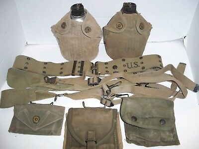 WW2 US Army Web Set, 2 1943 Canteens, Belt, 3 Pouches & Load Bearing Suspenders