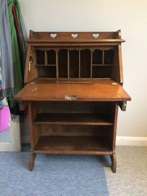 Antique Oak Students Small Bureau Bookcase Drop Down Writing Desk. Hearts.