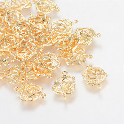 20 x Real Gold Plated Flower Brass Links For Jewelry Making 15.5x10x2mm Hole 1mm