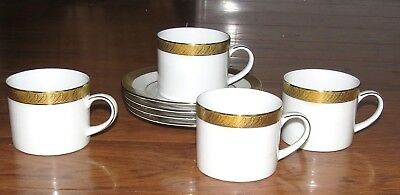 Centurion Collection 9414 Pure Gold FOUR Cups & Saucers