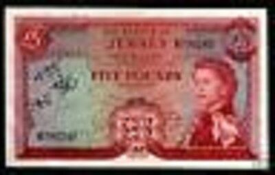 Jersey 5 Pounds P9 1972 Queen Fort Rare Great Britain Uk Currency Money Banknote