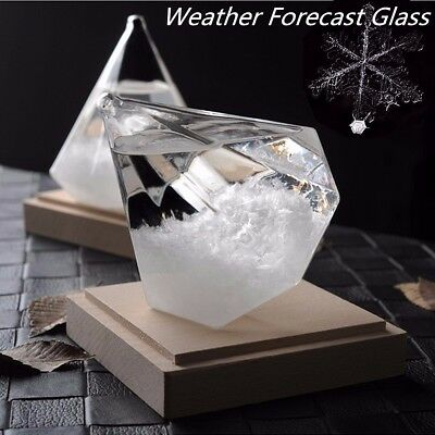 Crystal Diamond Shape Bottle Home Decor Ornament Weather Forecaster Storm Glass