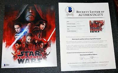 Mark Hamill Rian Johnson Signed Star Wars Last Jedi Autograph 8x10 Beckett PSA