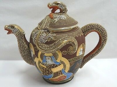 Otani Dragon Japanese Moriage Gilded Satsuma Hand Painted Japan Teapot