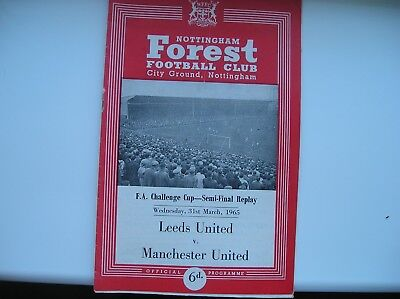 Leeds United V Manchester United - Fa Cup Programme -  March 1965