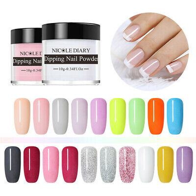 NICOLE DIARY Nail Art Dipping Liquid Powder Nude Red Dip Powder Manicure Glitter