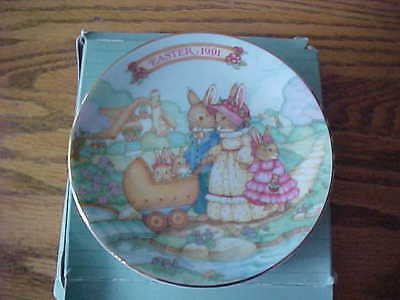 Avon Fine Collectible Porcelain 1991 Easter Plate Trim 22K Gold Bunny Rabbit