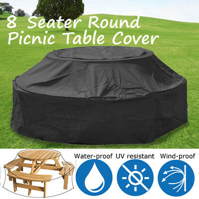 Outdoor Black 8 Seater Round Garden Patio Furniture Cover Picnic Table Dustcover