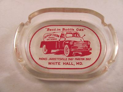 Antique Advertising Glass Ashtray Super-Therm Gas Markline Truck White Hall MD