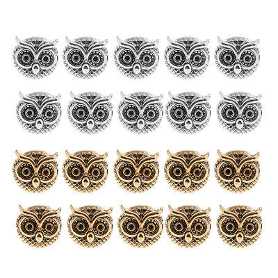 20PCS Silver Gold Tone Spacer Beads Owl Head For DIY Jewelry MakingS 11x11mm