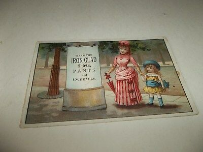 Vtg OLD Advertising Trade Card - IRON CLAD Shirts, Pants & Overalls