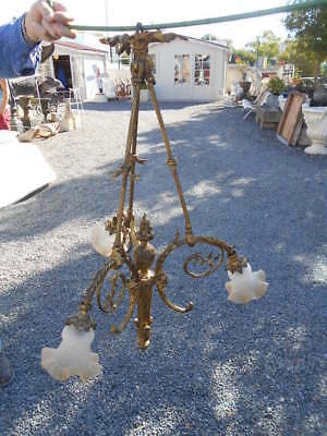 "Grand Lustre ""flambeau"" Epoque Fin 19E / Debut 1900 De Style Louis 16 En Bronze"